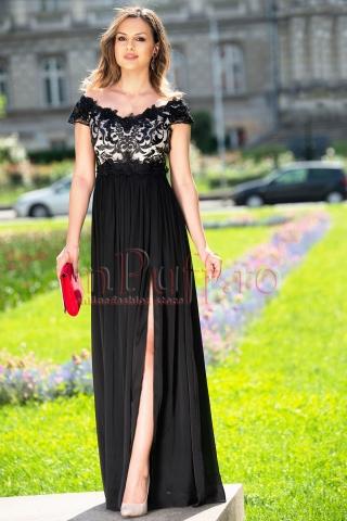 Rochie de seara neagra din dantela si triplu voal creponat