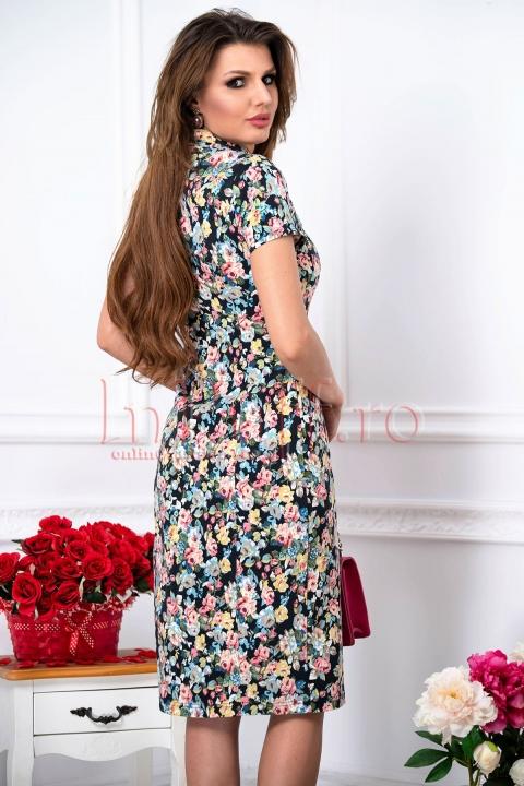 Rochie de zi eleganta din tercot cu imprimeu floral