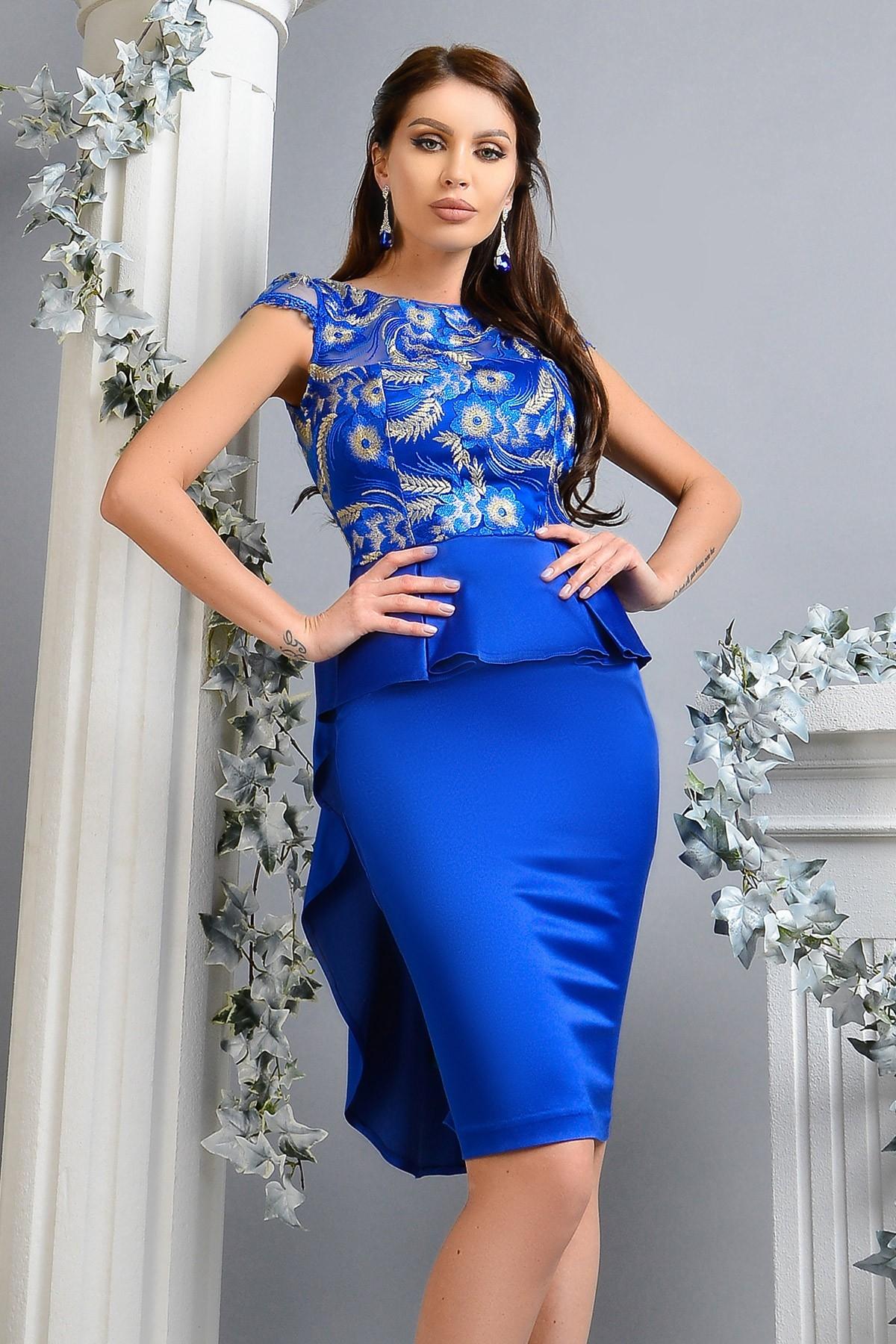 Rochie de ocazie albastru electric Atmosphere din satin elastic