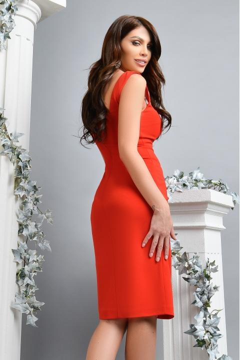 Rochie eleganta rosie Atmosphere cu nasturi aurii