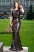 Rochie de seara neagra lunga tip sirena cu paiete aurii si broderie