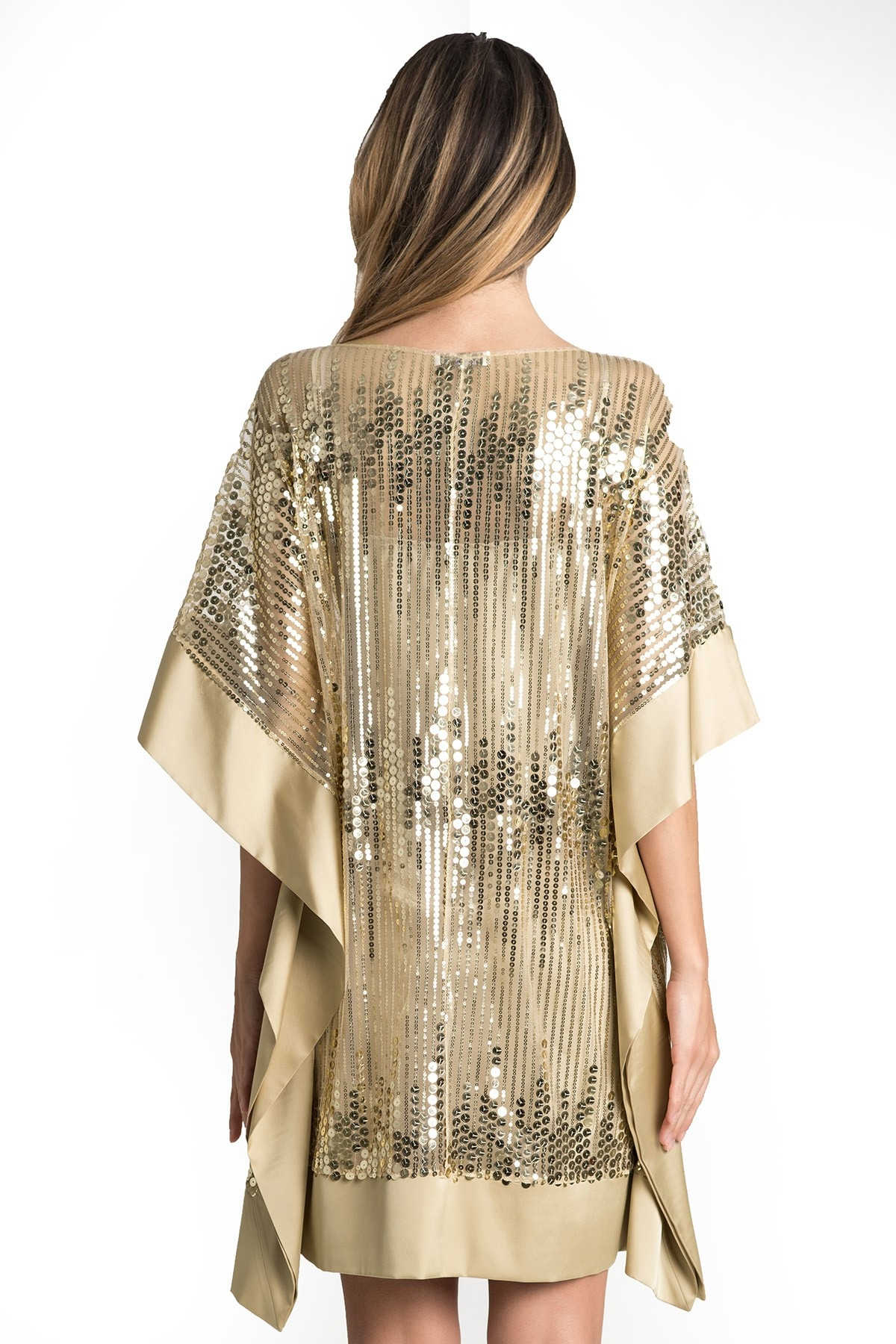 Rochie de seara din paiete aurii si satin