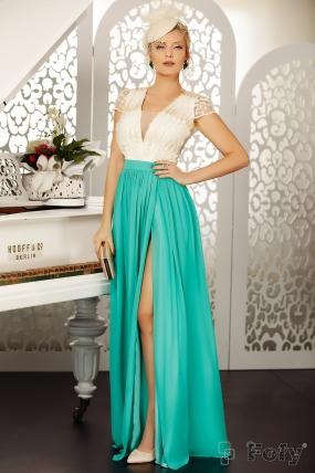 Rochie de seara lunga turquoise Fofy cu bust ecru din dantela 3D
