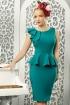 Rochie eleganta verde turquoise Fofy conica cu volane