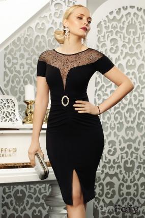 Rochie eleganta neagra Fofy cu decolteu amplu din tull