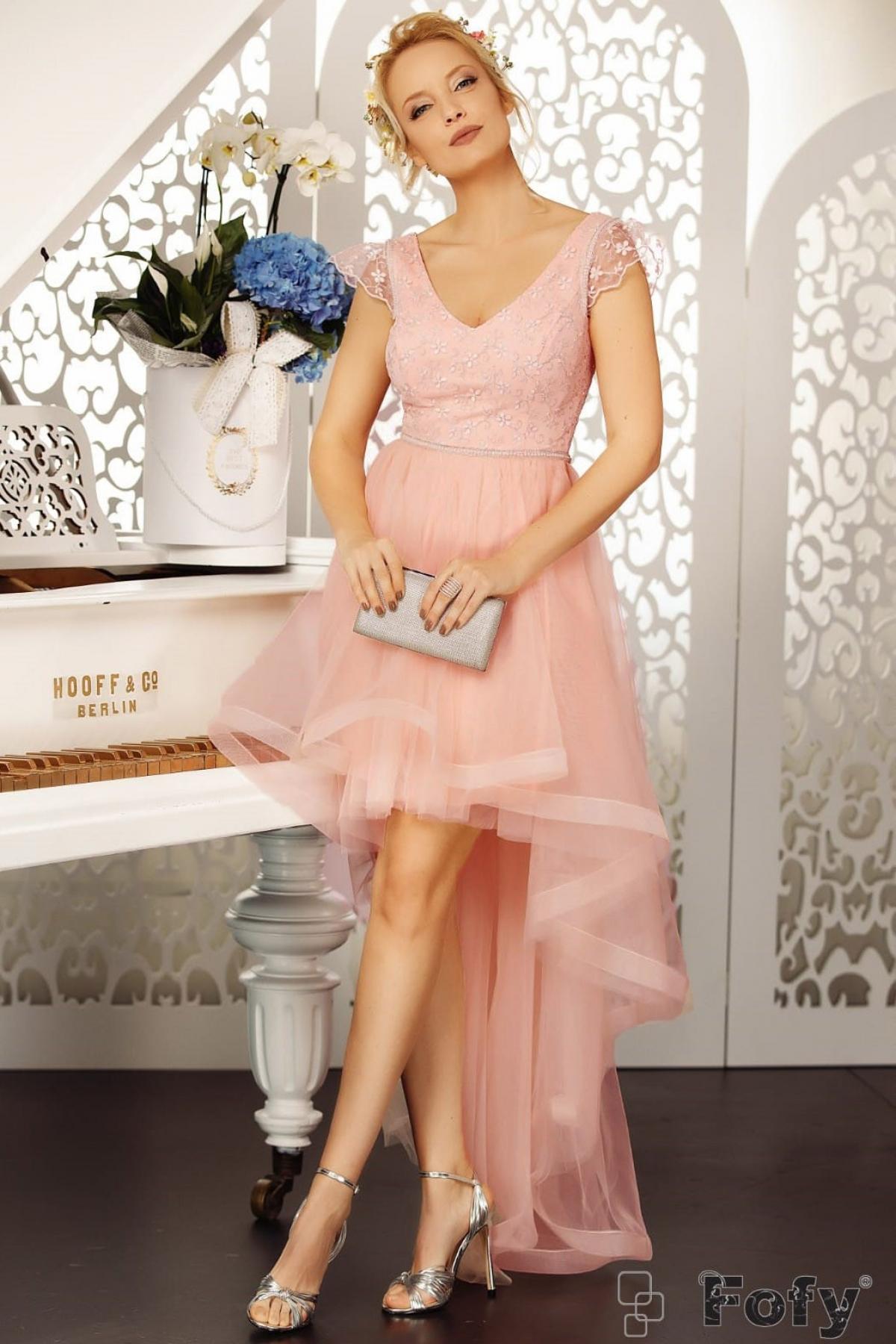 Rochie de seara rose asimetrica Fofy cu broderie pretioasa
