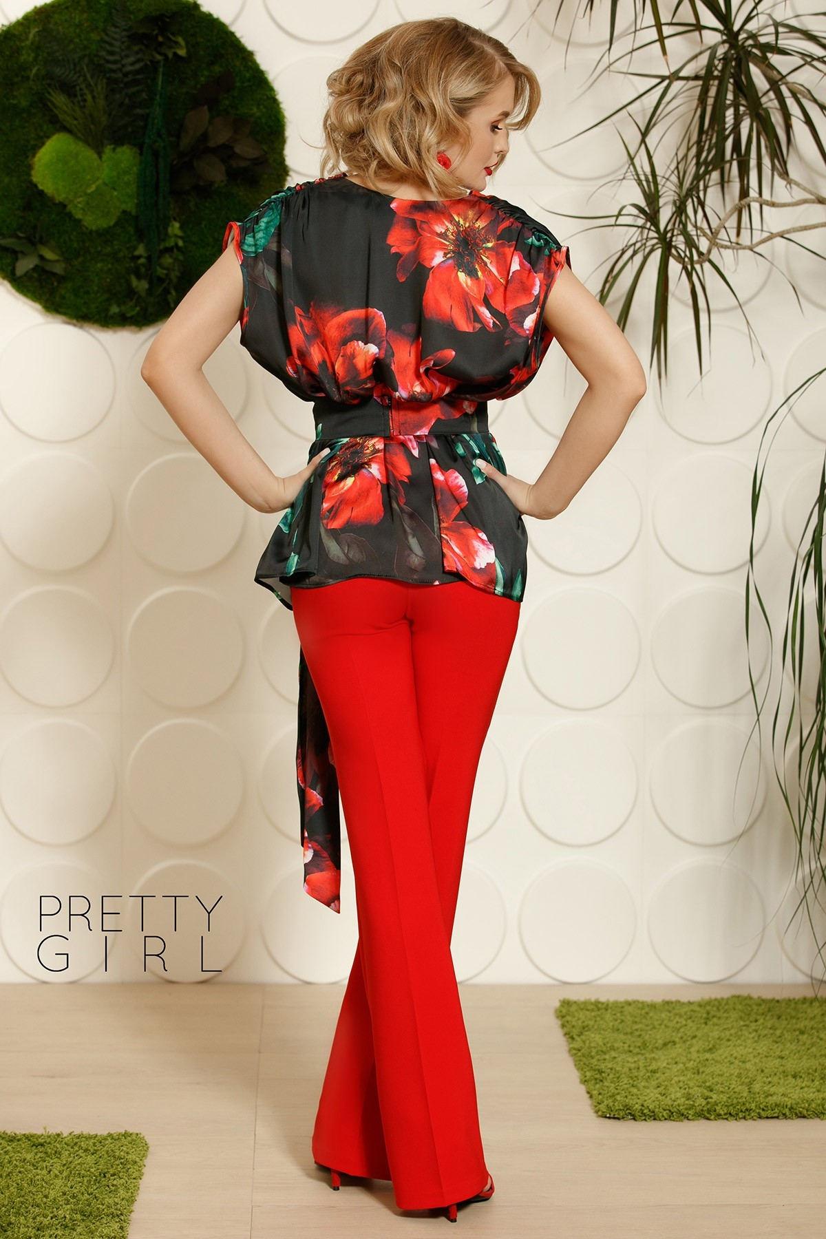 Pantalon dama elegant rosu evazat