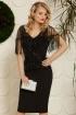 Rochie de seara neagra midi cu franjuri din paiete