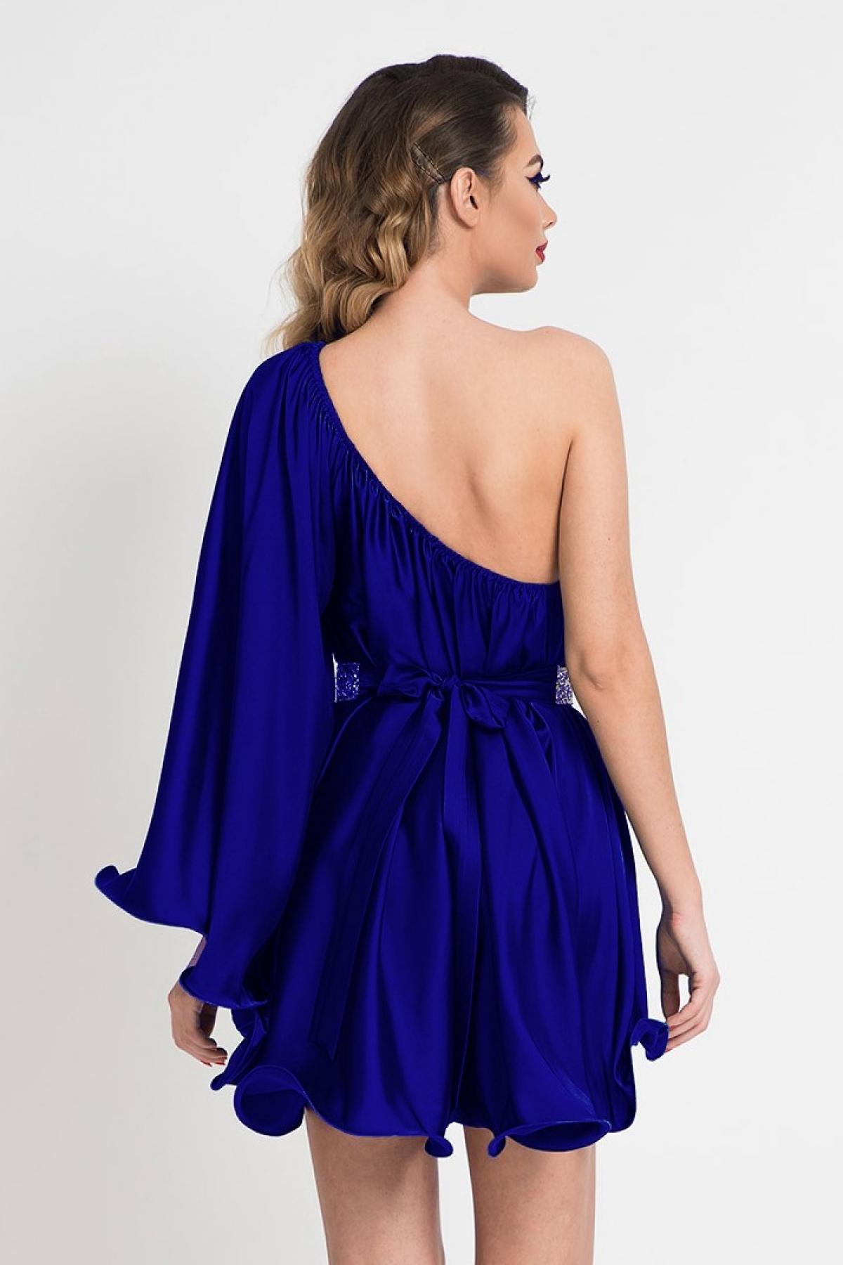 Rochie scurta de lux albastru electric cu maneca evazata aplicata