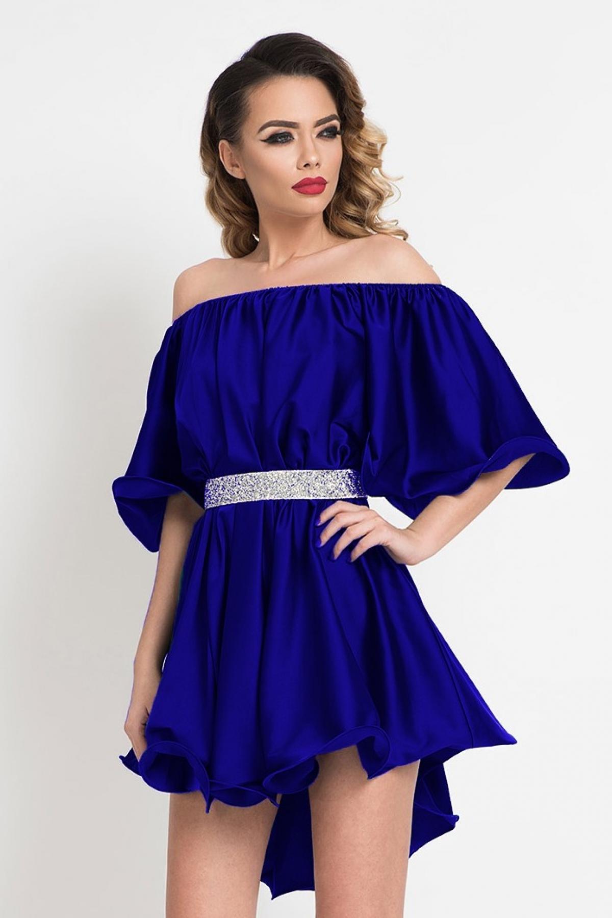 Rochie de lux scurta albastra cu umeri goi