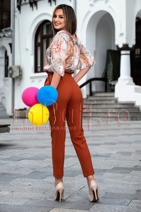 Pantalon dama maron cu talie inalta