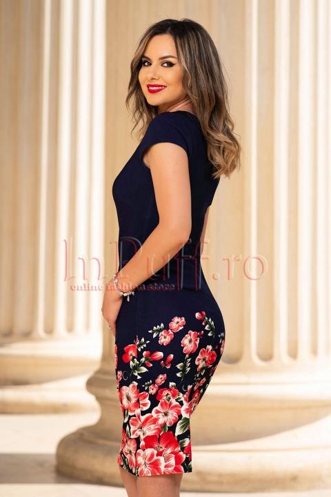 Rochie eleganta bleumarin cu imprimeu floral