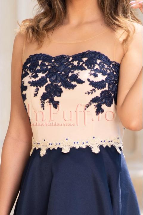Rochie de seara asimetrica bleumarin din tafta