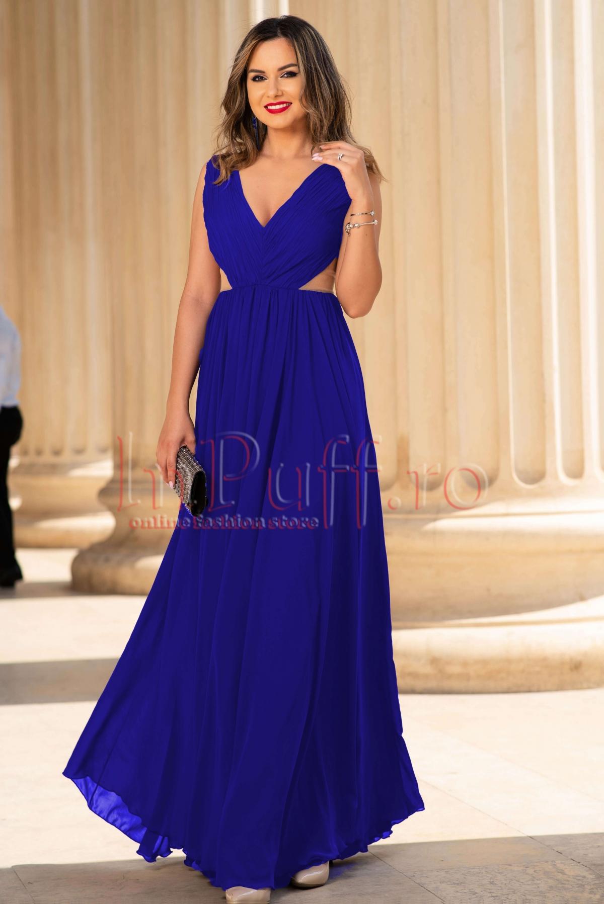 Rochie de seara albastra lunga din voal cu spatele gol