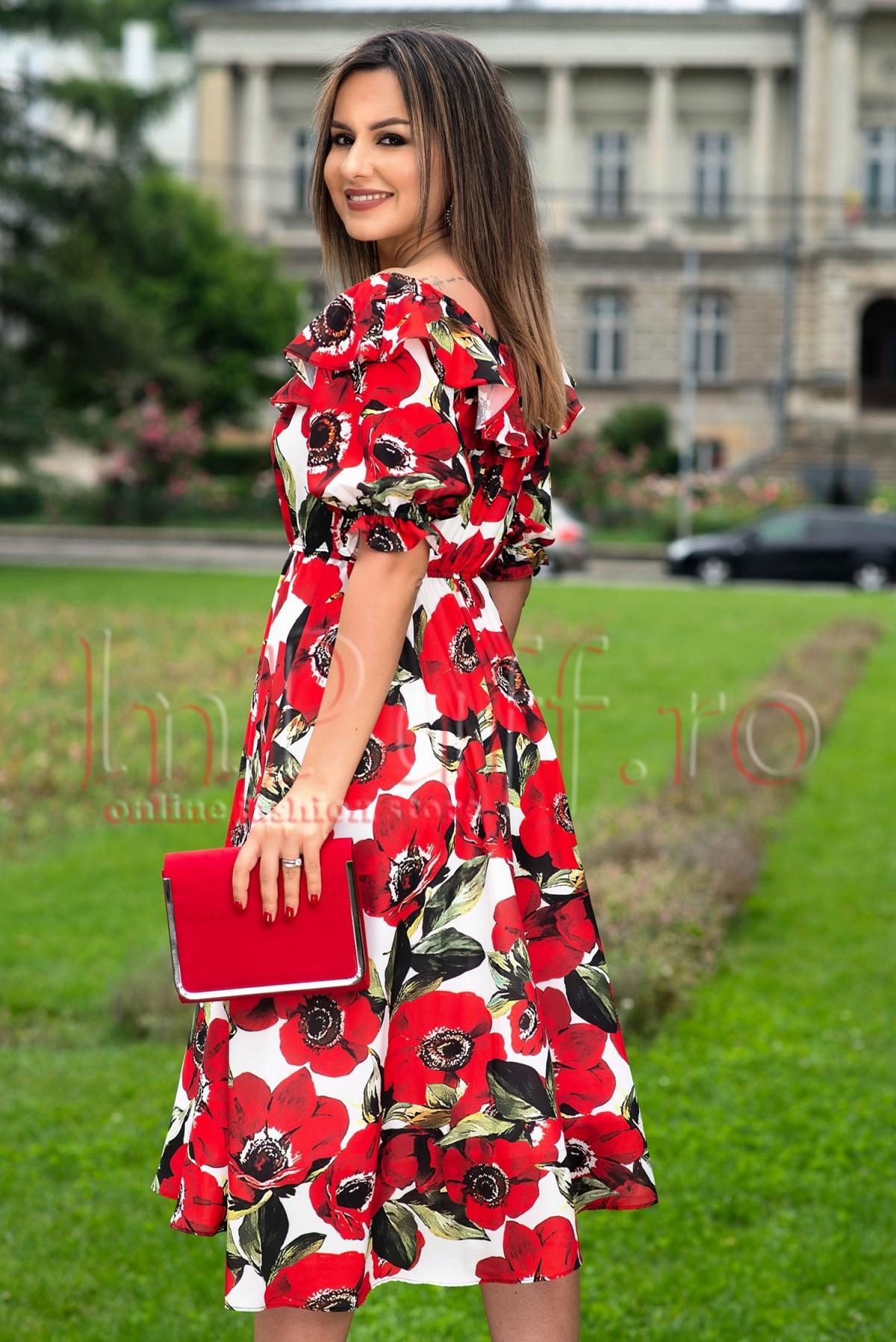 Rochie eleganta in clos cu imprimeu floral rosu