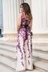 Rochie de lux lunga din tull bej cu broderie florala mov