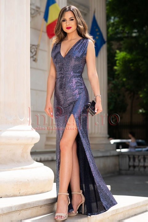 Rochie de seara bleumarin lunga din paiete