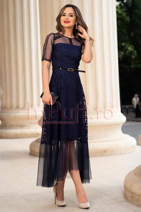 Rochie de seara bleumarin din organza