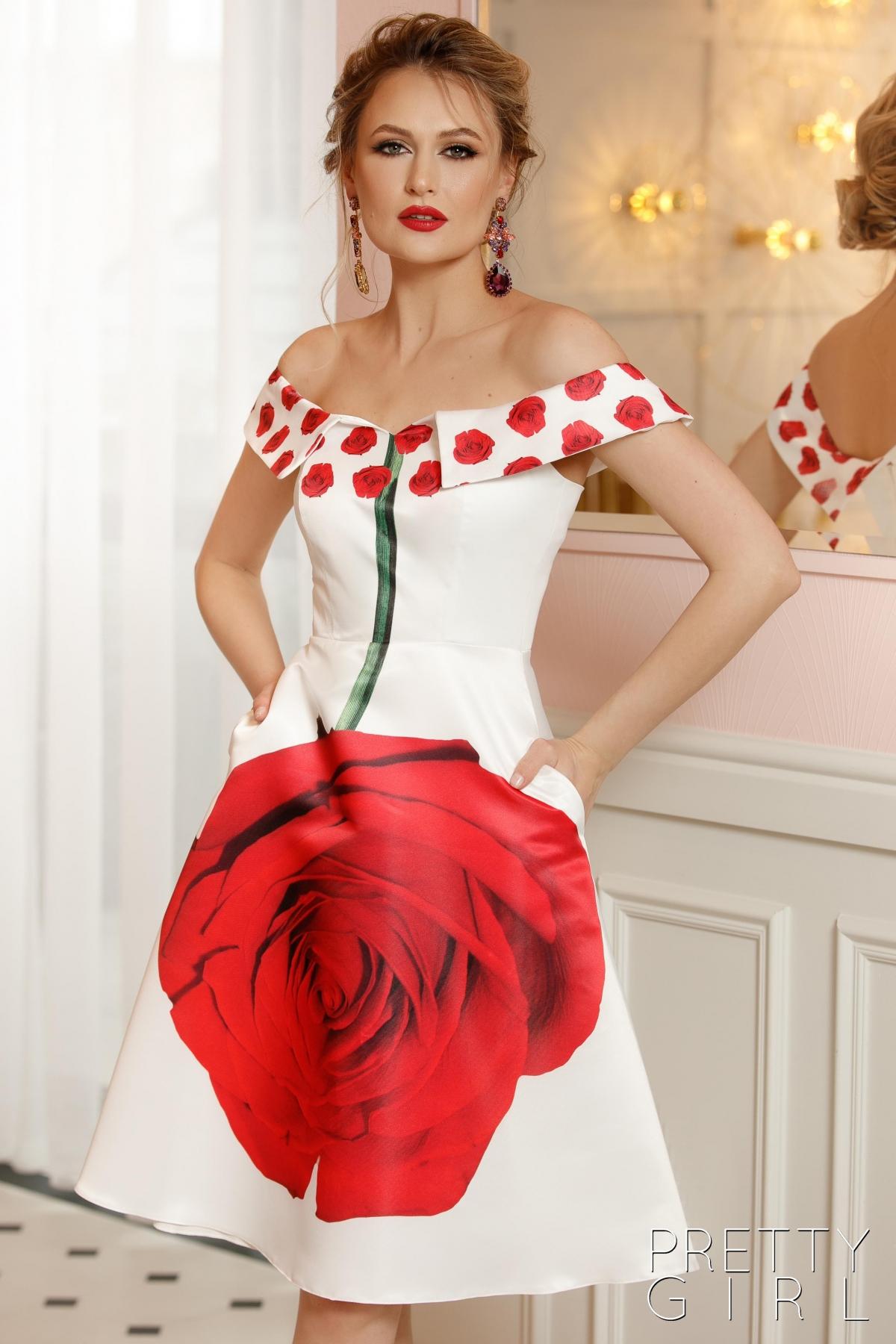 Rochie de ocazie din tafta alba cu imprimeu floral rosu