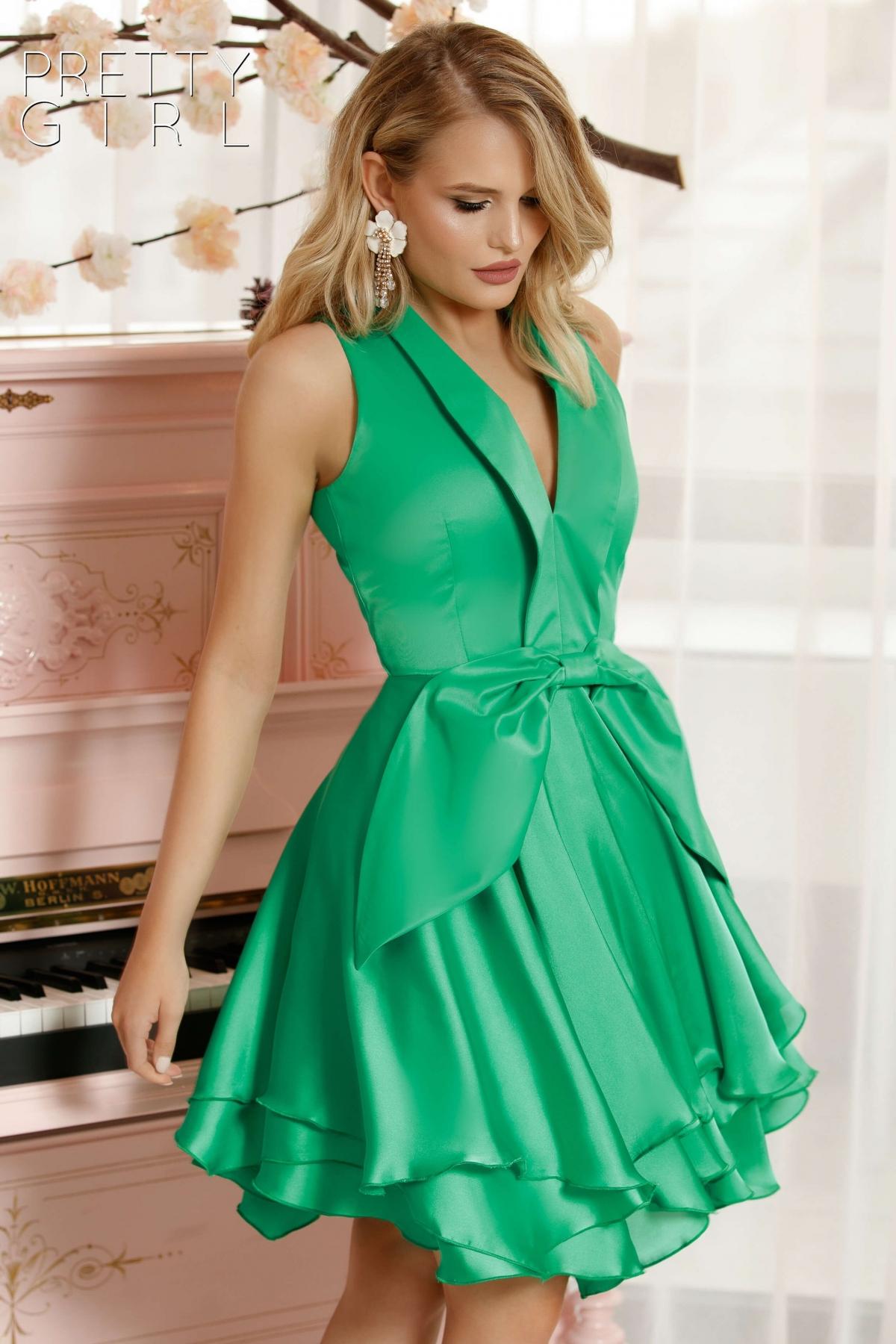 Rochie de seara verde smarald din tafta si satin