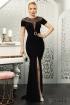 Rochie eleganta neagra Fofy cu decolteu din tull