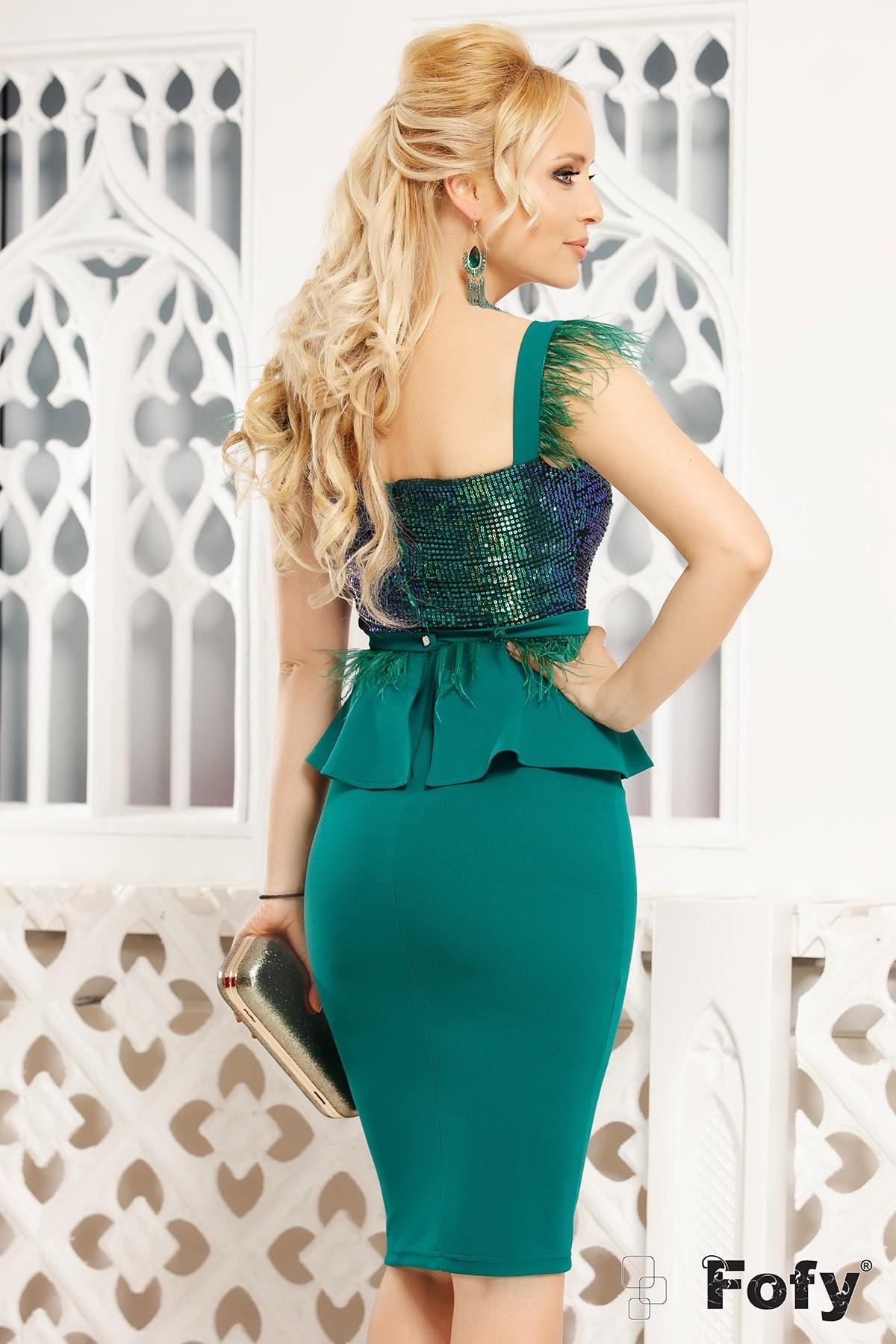 Rochie de seara verde Fofy midi cu paiete si fulgi