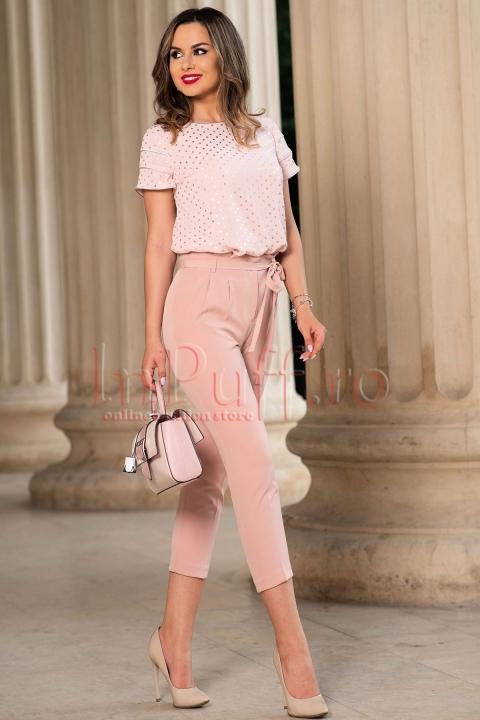 Pantalon dama roz prafuit cu talie inalta si cordon