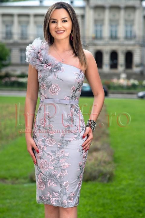 Rochie de seara gri cu broderie florala roz