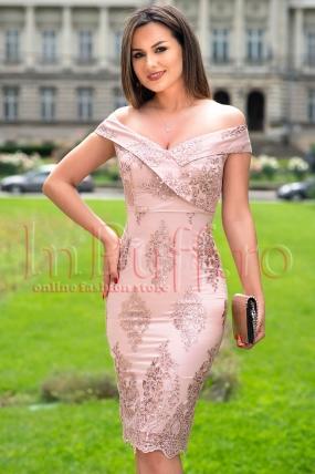 Rochie de seara roz prafuit din broderie cu paiete