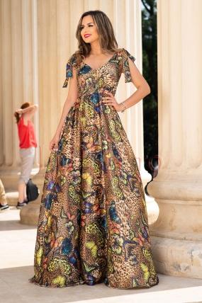 Rochie eleganta lunga cu imprimeu animal print