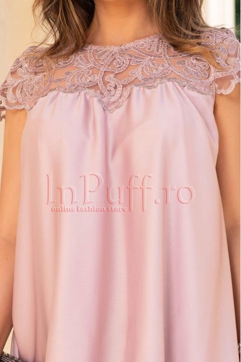 Rochie de seara roz scurta din satin si dantela