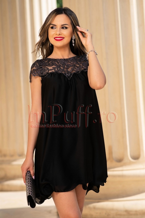 Rochie de seara neagra scurta din satin si dantela