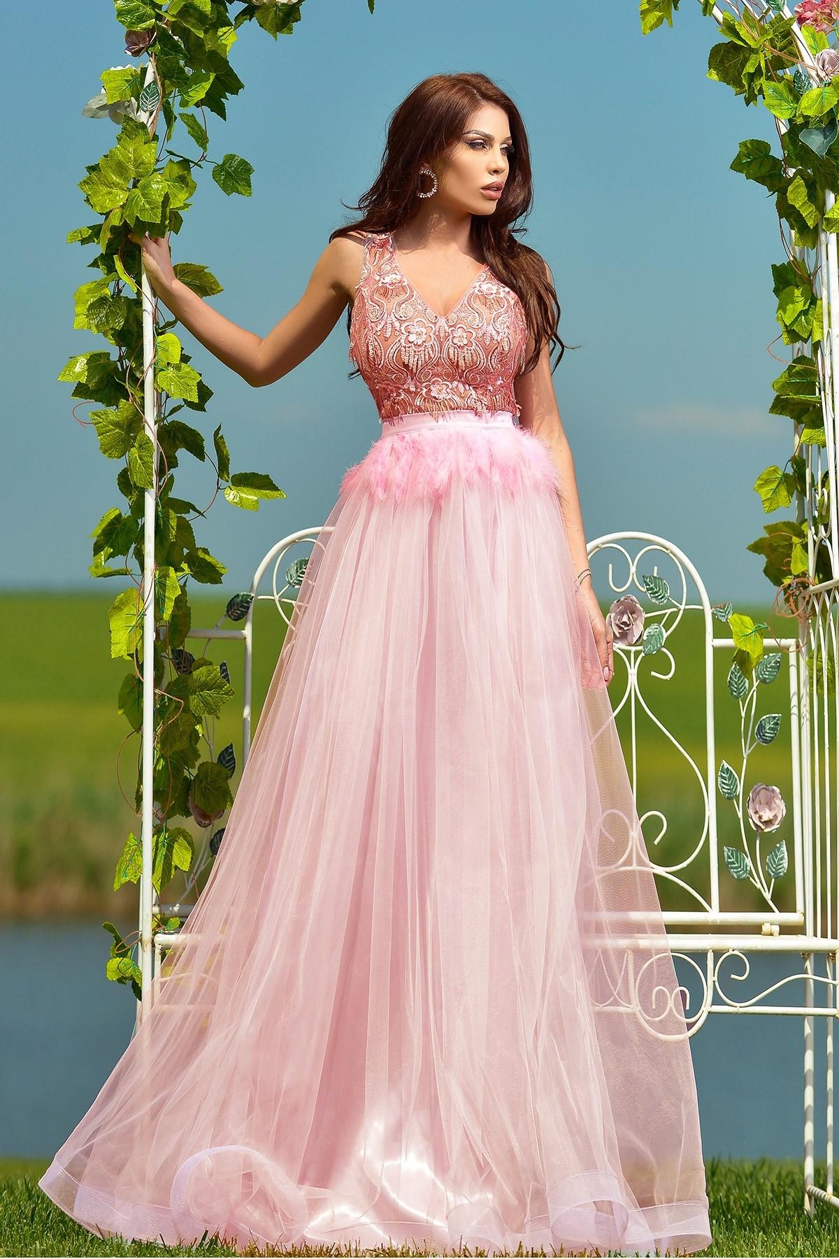 Rochie de lux rose Atmosphere din tull cu pene Atmosphere