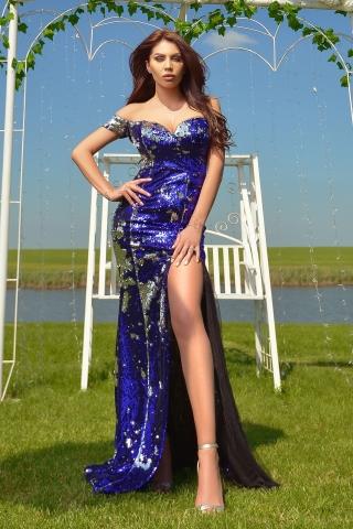 Rochie de lux Atmosphere albastra cameleon