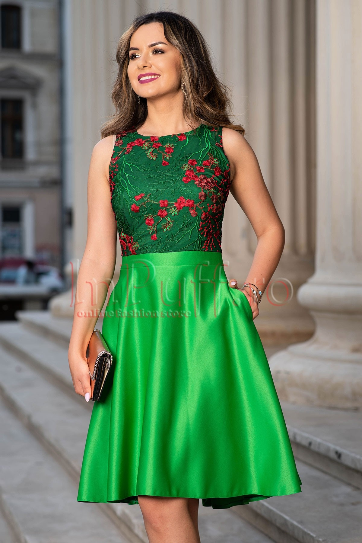 Rochie de seara Moze din tafta verde si tul brodat