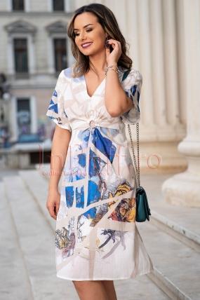 Rochie de vara din in imprimat cu maneca scurta