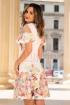 Rochie eleganta ivoire cu imprimeu floral si maneci cazute