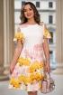 Rochie eleganta ivoire cu imprimeu flori galbene si roz