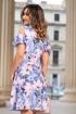 Rochie eleganta bleu cu maneci cazute si imprimeu floral