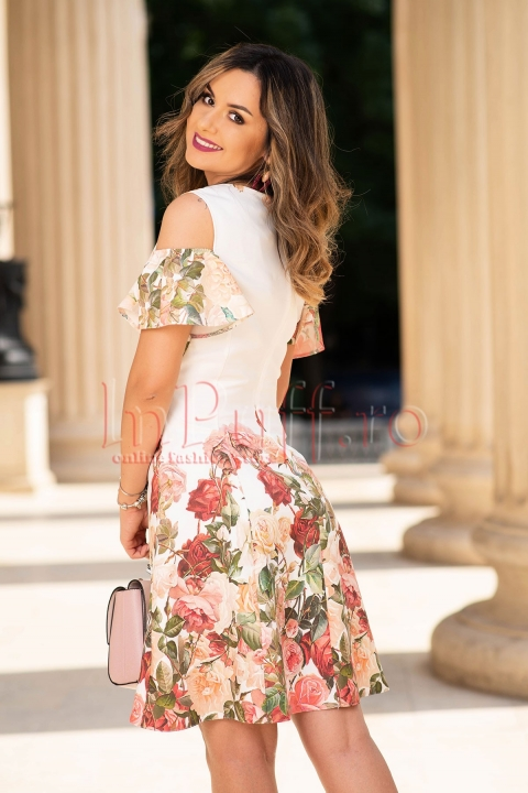 Rochie eleganta ivoire cu imprimeu floral trandafiri