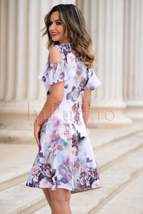 Rochie eleganta cu model floral deosebit