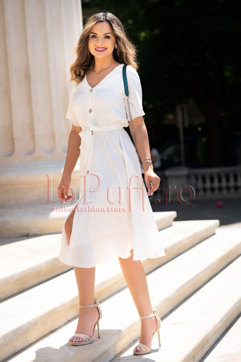 Rochie eleganta de vara alba din voal creponat