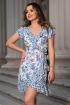 Rochie casual alba cu imprimeu floral albastru