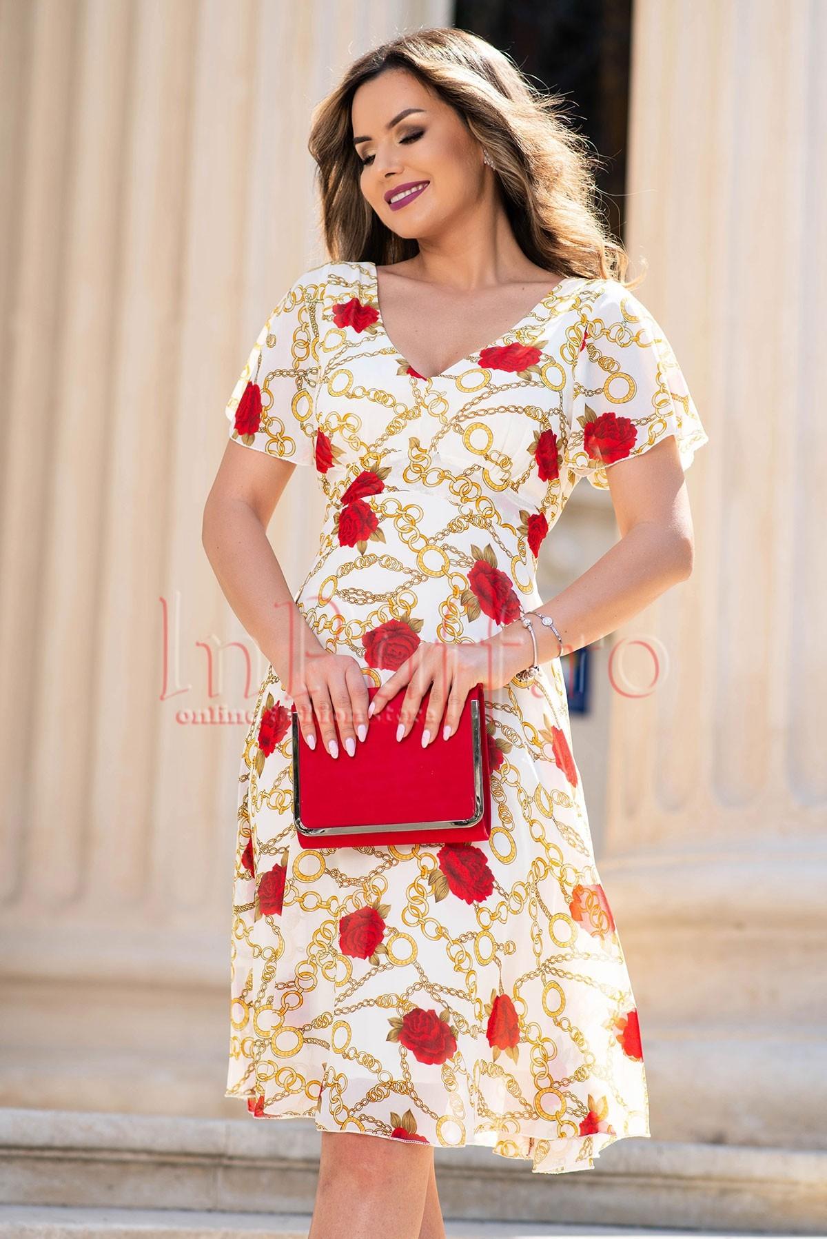 Rochie eleganta ivoire din voal cu imprimeu de lanturi si trandafiri thumbnail