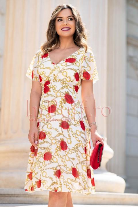 Rochie eleganta ivoire din voal cu imprimeu de lanturi si trandafiri
