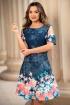 Rochie eleganta bleumarin cu imprimeu floral si maneci cazute