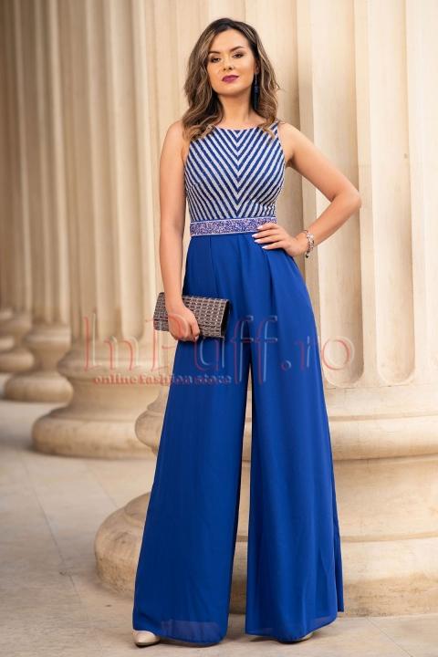 Salopeta eleganta albastra cu pantalon evazat si fara maneca