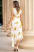 Rochie eleganta de vara alba cu imprimeu floral galben