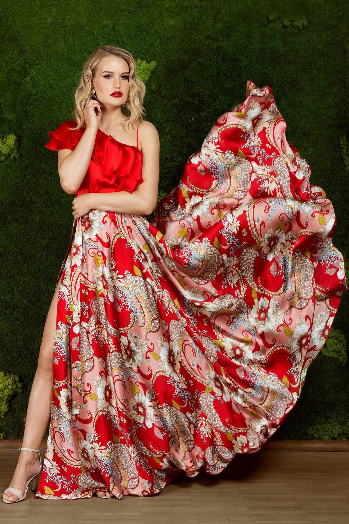 Fusta eleganta din satin cu imprimeu floral
