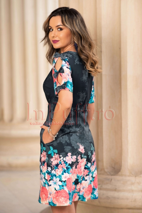 Rochie eleganta neagra cu imprimeu floral si maneca scurta